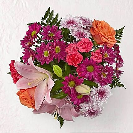 Blissful Mixed Flowers Bouquet:Send Roses to USA