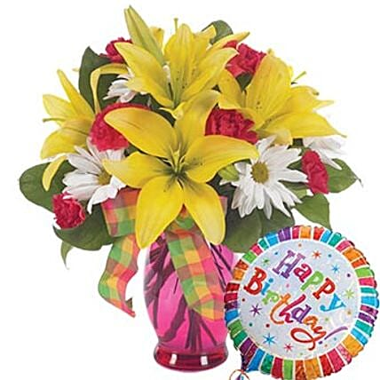 Bright Birthday Surprise Flower Vase