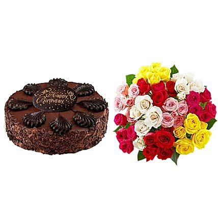Chocolate Cake with Assorted Roses Birthday