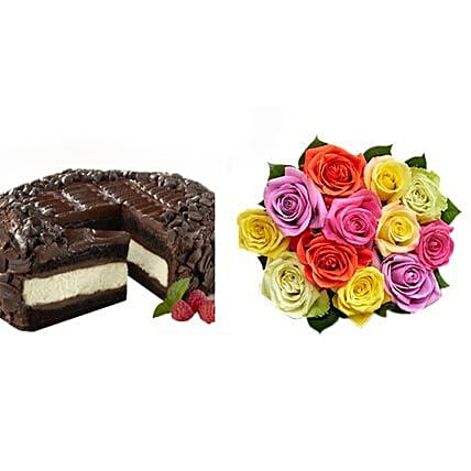 Chocolate Cheesecake and Colorful Roses Birthday:Roses