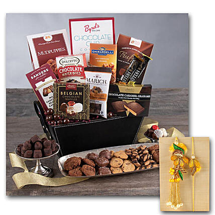 Chocolate Gift Basket Cl With Bhaiya Bhabhi Rakhi