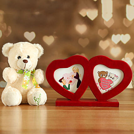 Couple Heart Photo Frame And Cute Teddy:Soft Toys Delivery in USA