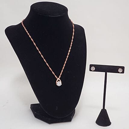 Crystal Pendant And Earrings Gift Set:Artificial Jewellery Gifts to USA