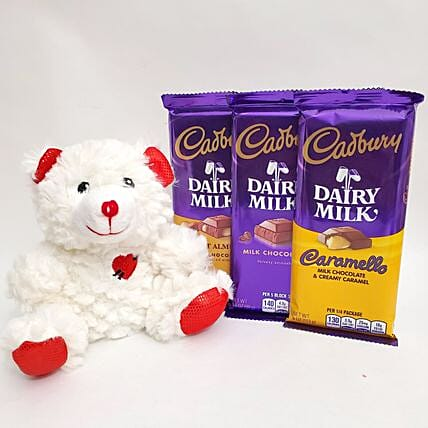 Cute Teddy And Dairy Milk Chocolates Gift Set