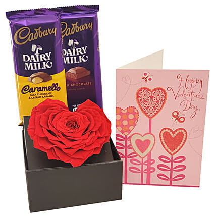 Dairy Milk Chocolates And Forever Rose:Miss You Flowers to USA