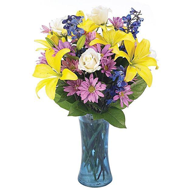 Delightful Assorted Flowers Vase Arrangement