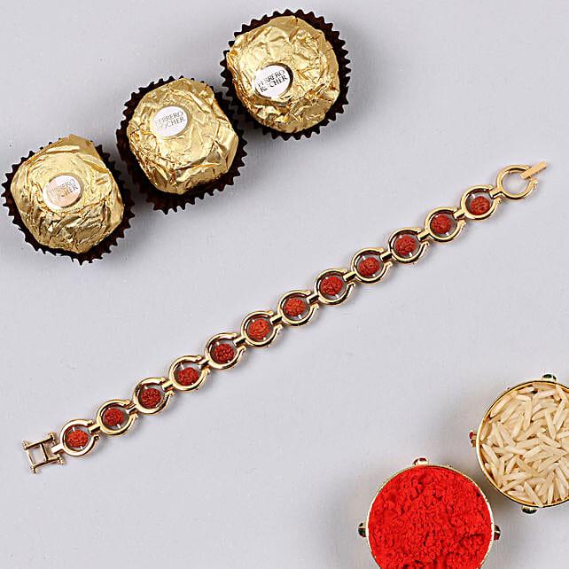 Divine Red Rudraksh Bracelet And 3 Pcs Ferrero Rocher