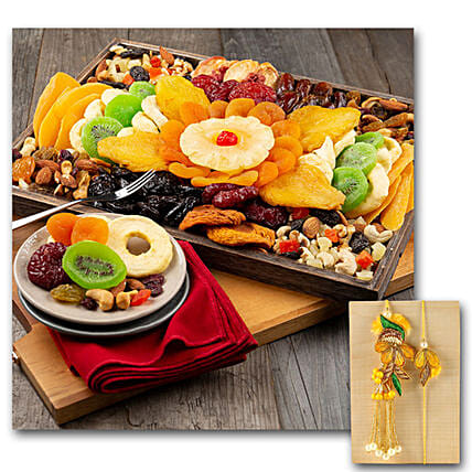 Dried Fruit Platter With Bhaiya Bhabhi Rakhi
