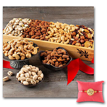 Dryfruit And Nut Crate With Rakhi