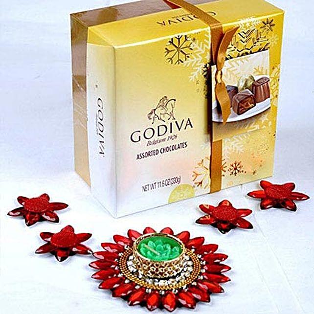 Elegant Floating Diyas and Godiva Chocolates