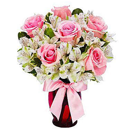 Elegant Pink Roses Bouquet:Send Roses to USA