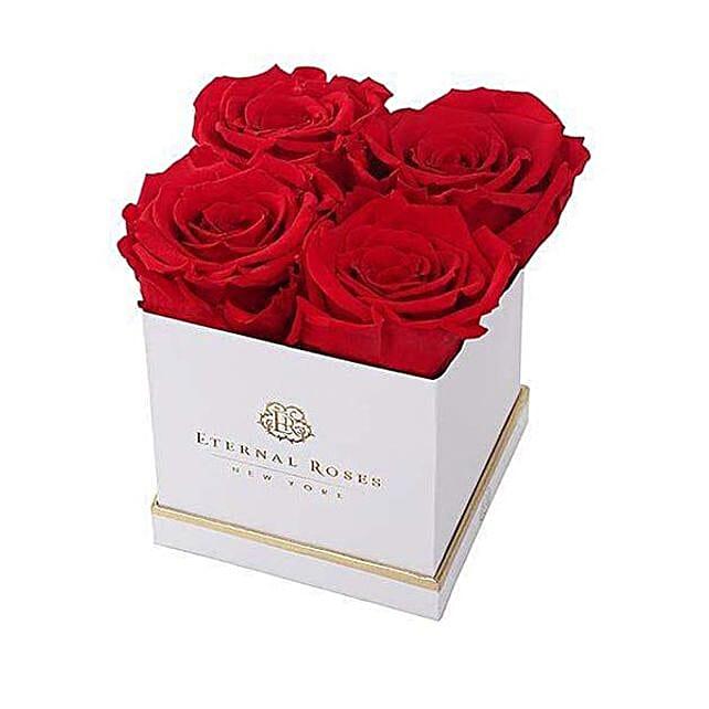 Eternal Red Rose In white Box