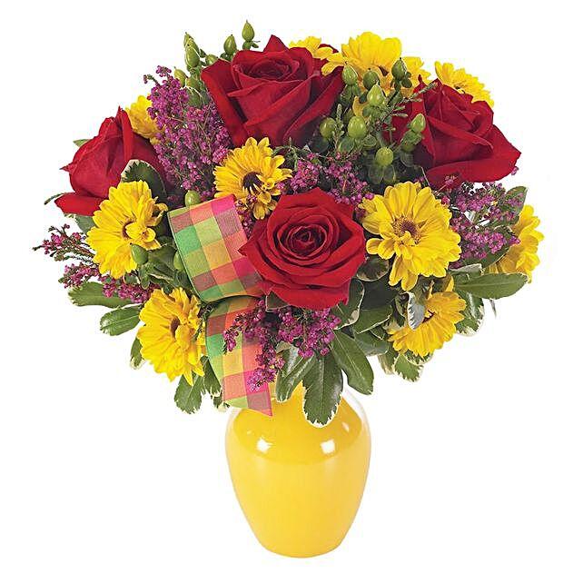 Exotic Assorted Flowers Oval Pot Arrangement