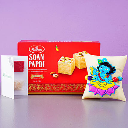 Fabulous Krishna Kids Rakhi And Soan Papdi:Single Rakhi to USA