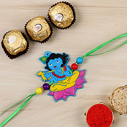 Fabulous Krishna Kids Special Rakhi And 3 Pcs Ferrero Rocher:Single Rakhi to USA