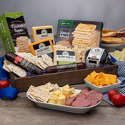 Fathers Day Sausage And Cheese Gift Basket:Send Fathers Day Gifts to USA