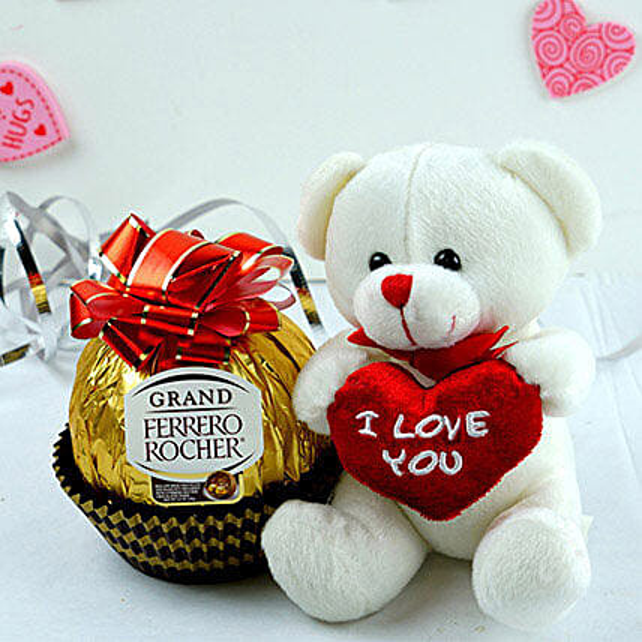 Ferrero Chocolates N Teddy Combo