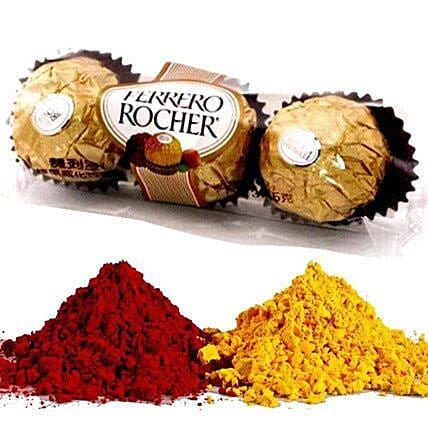Ferrero Rocher with 2 Shades of Holi Gulal