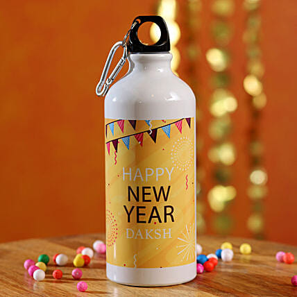 Festive Happy New Year Personalised Bottle:Send New Year Gifts to USA