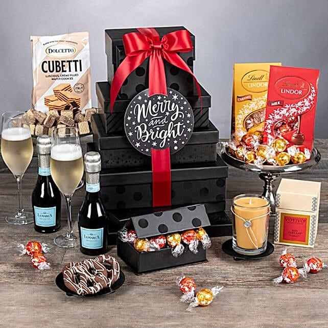 Festive Premium Champagne Tower:Send Wine Gift Basket to USA