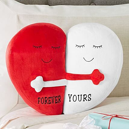 Forever Yours Hugging Hearts Pillow