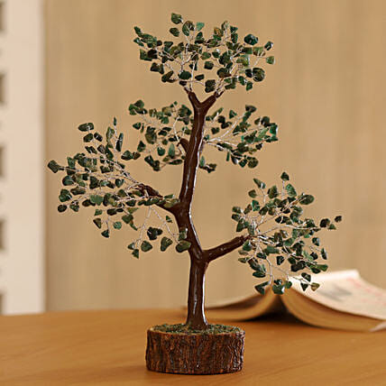 Green Aventurine Gemstone Wishing Tree 11 Inch