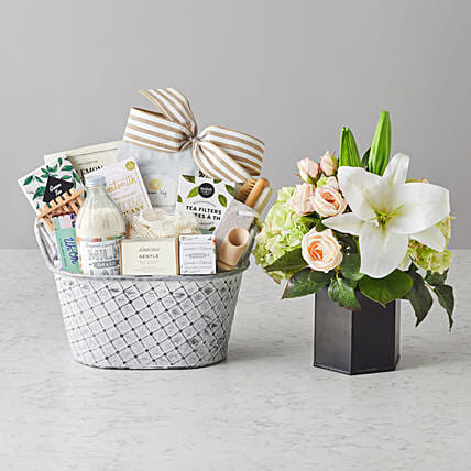 Happy Mothers Day Amelia Faux Flowers And Spa Hamper:Send Mothers Day to USA