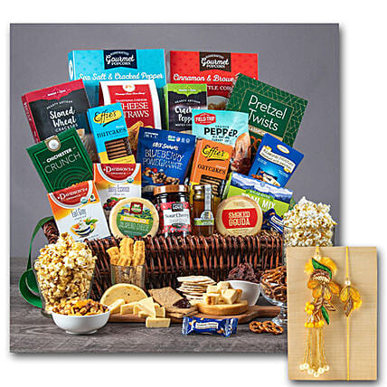 Healthy Gift Basket With Bhaiya Bhabhi Rakhi