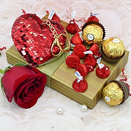 Heart Keychain And Ferrero Rocher Combo