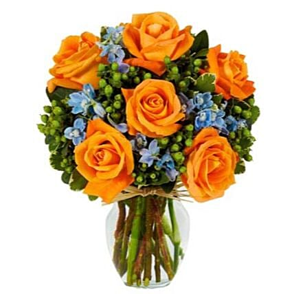 Hello Sunshine Orange Rose Bouquet