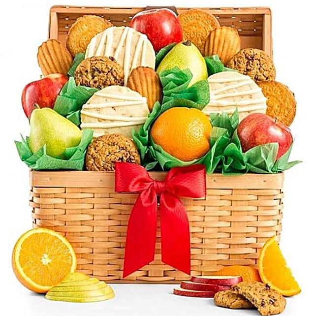 Juicy Fruits And Cookies Basket