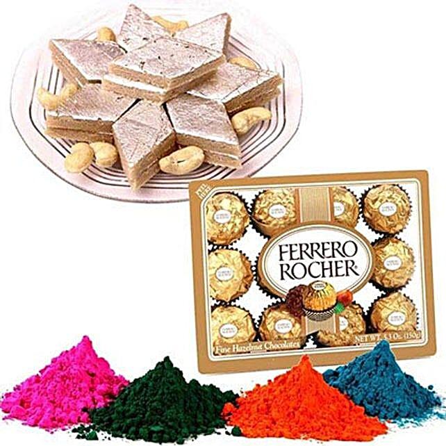 Kaju Barfi with Ferrero Rocher and Holi Colors