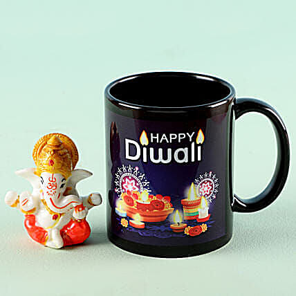 Online Black Mug With Ganesha Idol