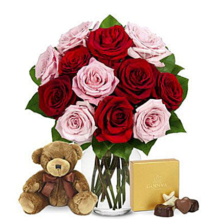 Love Redefined Red And Pink Roses Godiva Bear:Plant Delivery in USA