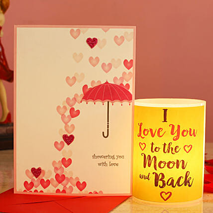 Love You To The Moon Hollow Candle Love Umbrella Greeting Card:Gifts to USA