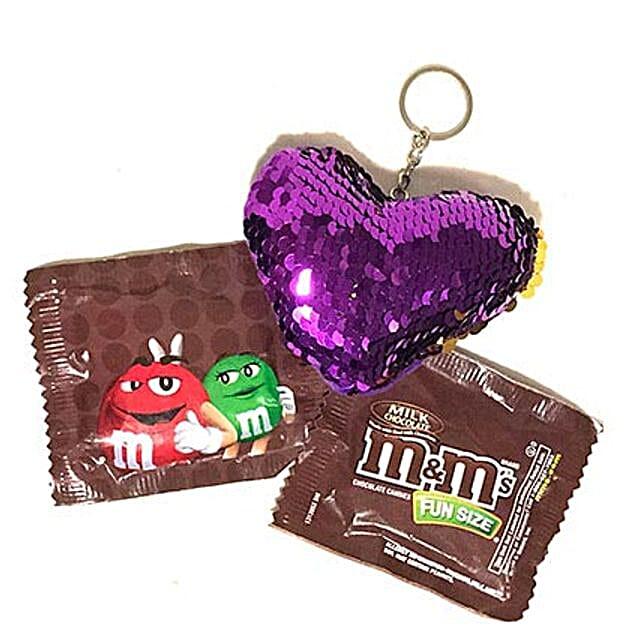 MnM With Heart Keychain