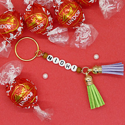 Name Keychain With Milk Chocolates