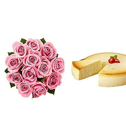 NY Cheescake with Pink Roses:Flower with Sweets to USA