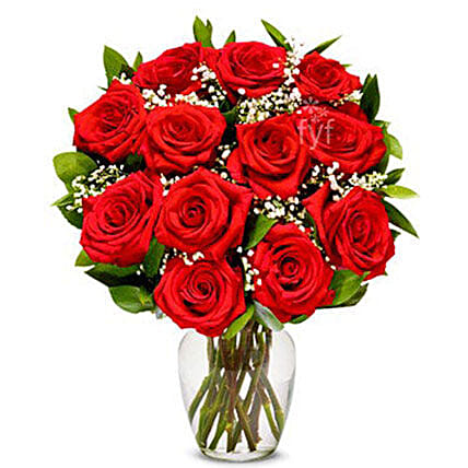 One Dozen Red Roses Bouquet:Send Valentines Day Gifts to USA