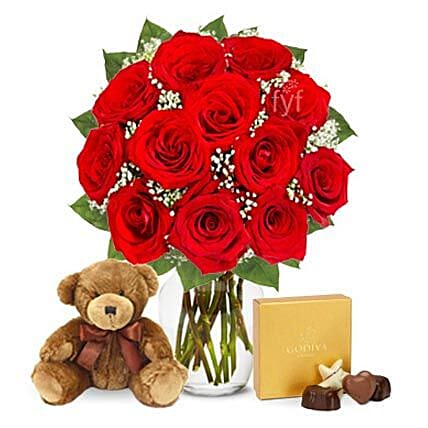 One Dozen Roses with Godiva Chocolates and Bear Birthday:Send Valentines Day Gifts to USA