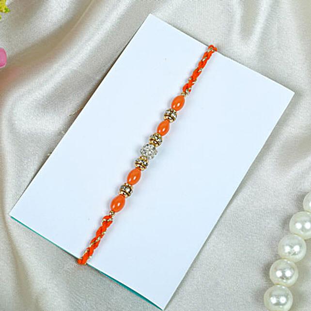 Orange beads Rakhi