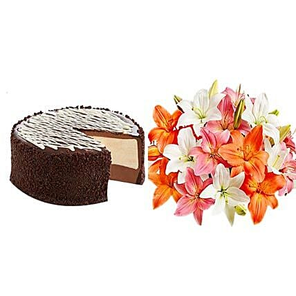 Black&White Cake with Colorful Lilies:Flowers and Sweets Delivery in USA