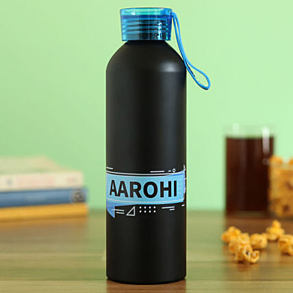 Personalised Black Metal Water Bottle