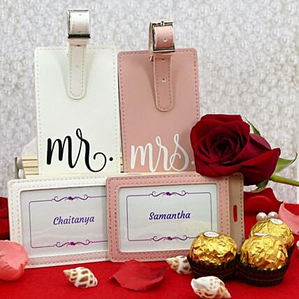Personalised Couple Luggage Tags And Chocolates:Flower Delivery USA