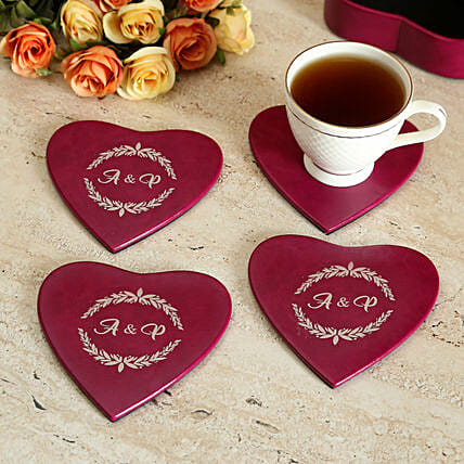 Personalised Heart Coaster Set of 4