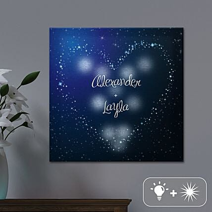 Personalised Led Heart In Stars Canvas