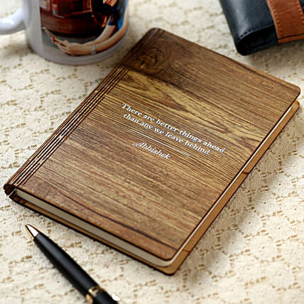 Personalised Name Wooden Notebook:Personalised Gifts to USA from India