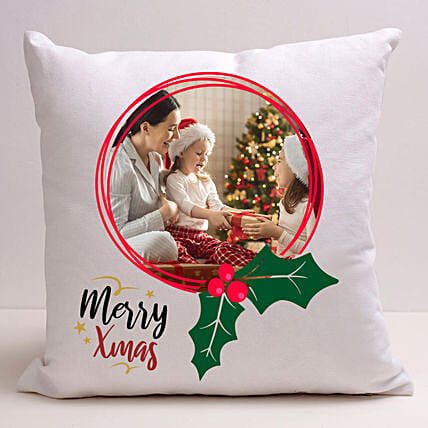 Personalised Xmas Memories White Cushion