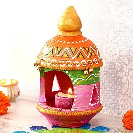 Pink Clay Diya With Stand