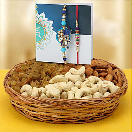 Rakhi pair with dry fruits